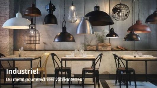 Accéder aux luminaires tendance industrielle de chez Maisons du Monde