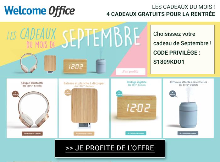 Welcome Office : découvrez les cadeaux du mois de Septembre !
