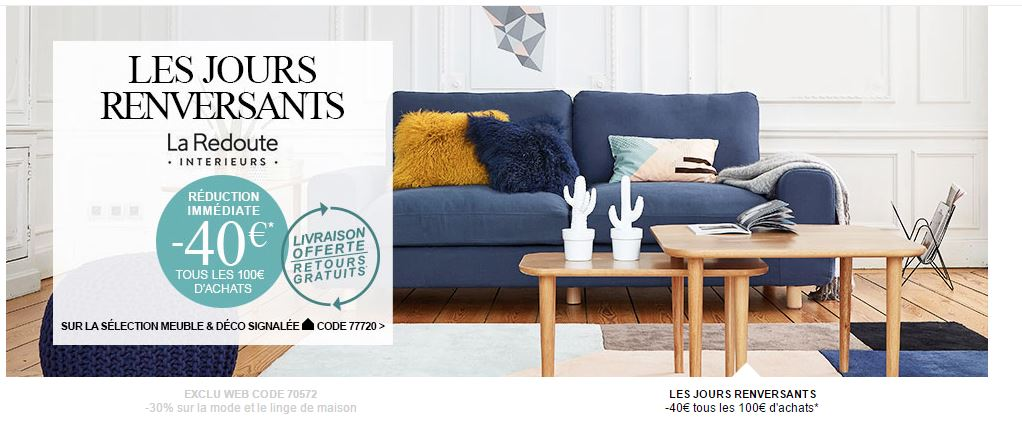 code promo la redoute interieur du 6 au 19 septembre 16. Black Bedroom Furniture Sets. Home Design Ideas