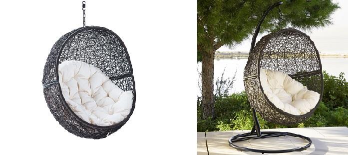 Fauteuil suspendu en résine tressée blanc ou noir Maisons du Monde
