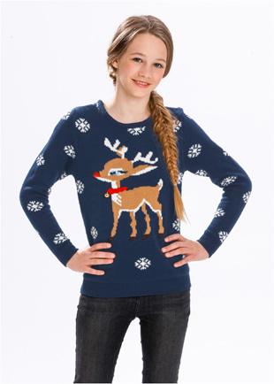Pull Noël avec motif rennes sur BONPRIX.FR