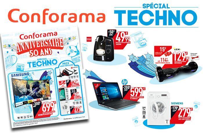 Cliquez ici pour feuilleter le nouveau catalogue Conforama Anniversaire 50 ans spécial Techno