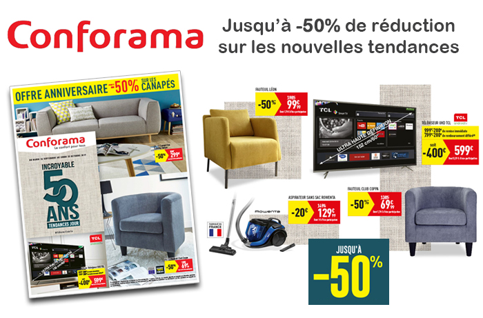 nouveau catalogue conforama promos jusqu 39 50. Black Bedroom Furniture Sets. Home Design Ideas