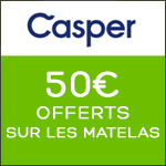 Casper sleep : -50€ sur tous les matelas