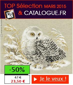 """Broderie Point de Croix """"Chouette Harfang"""" -50% - Cliquez pour comander"""