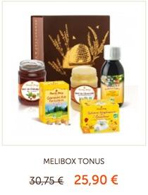 4/ Coffret MELIBOX TONUS, une boîte garnie de miels onctueux, infusions bienfaisantes et gommes pectorales ! Un concentré d'énergie pour booster la rentrée !