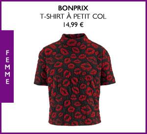 Le T-shirt à petit col Bonprix