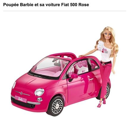 Barbie et sa voiture Fiat 500 Rose