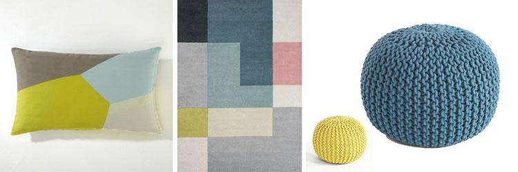 Housses de coussins, tapis, poufs... Tout ce qu'il faut pour votre intérieur