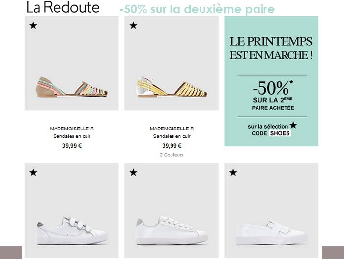 50% sur la deuxième paire de chaussures