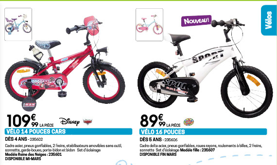 Voir les vélos et les tricycles