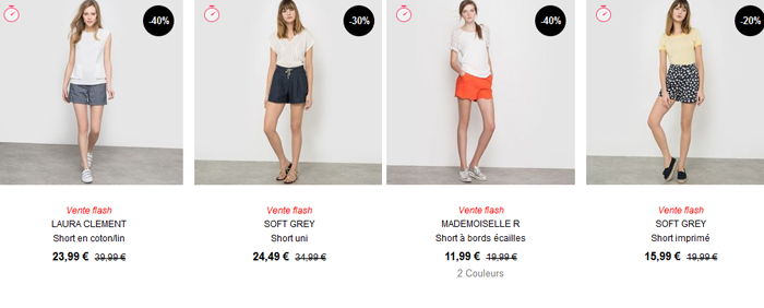 Les shorts du catalogue de La Redoute.