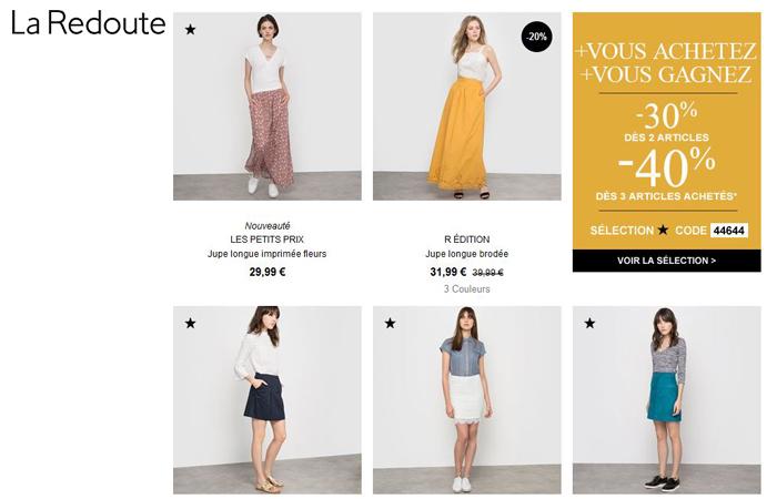 Je souhaite voir les jupes sur le catalogue de La Redoute en cliquant ici.