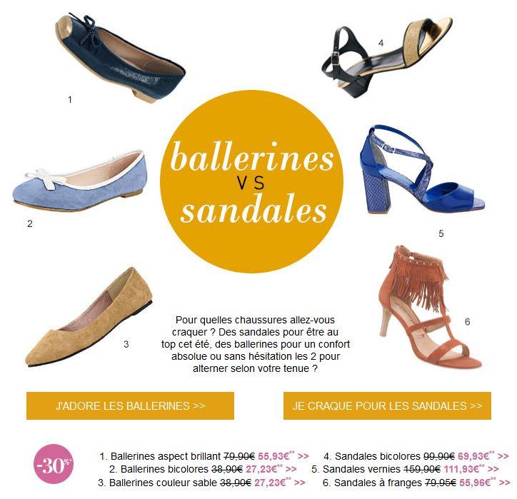Helline : ballerines vs sandales