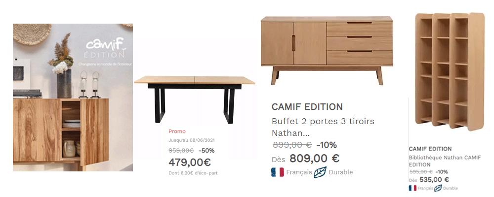 CAMIF - Promo Meuble, Deco, Literie, Linge de maison jusqu'à -50%
