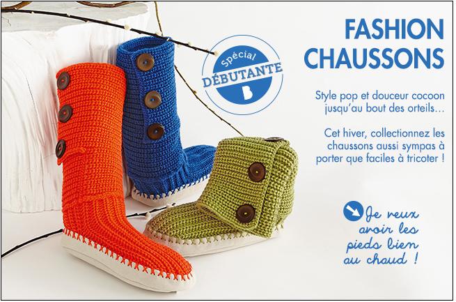On débute le tricot en tricotant de superbes chaussons pour toute la famille !