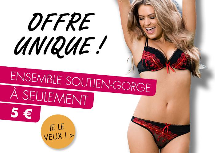 Soyez la plus sexy avec votre ensemble soutien-gorge préféré à seulement 5€ chez Adam et Eve !