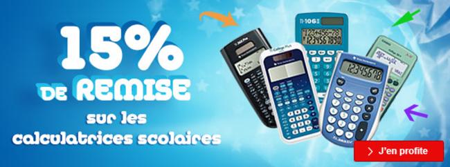 15% de remise sur les calculatrices scolaires