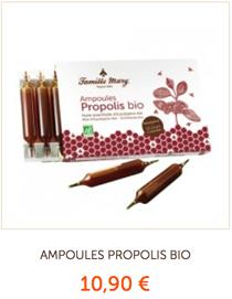 1/ Votre cure d'ampoules à la Propolis Bio et du miel d'eucalyptus pour la gorge et pour se protéger de l'hiver.