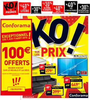 CONFORAMA - 100€ OFFERT PENDANT 2 JOURS