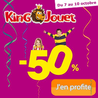 KING JOUET : Jusqu'au 10 Octobre SEULEMENT 50% de remise sur le 2ième Jouet !