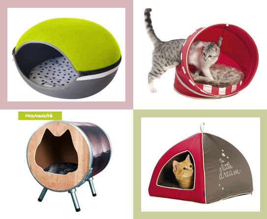 Maisons et paniers à chats