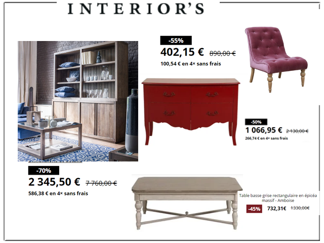Nouvelle Collection INTERIOR'S