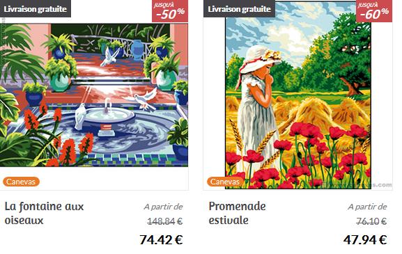 """Les broderies """"La fontaine aux oiseaux"""" et """"Promenade Estivale"""""""