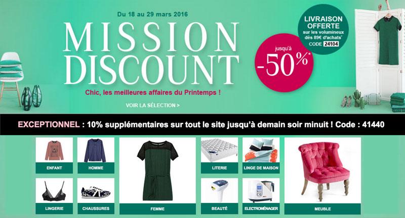 Mission discount : jusqu'à -50%