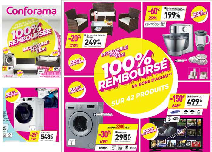 en ce moment sur le catalogue conforama plus de 40 produits 100 rembours s. Black Bedroom Furniture Sets. Home Design Ideas