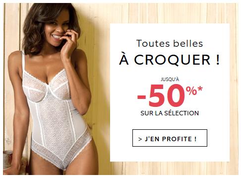 jusqu'à -50% sur la sélection de lingerie !