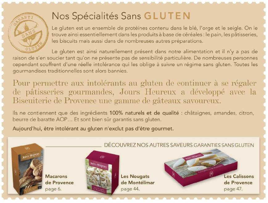 les spécialités sans gluten