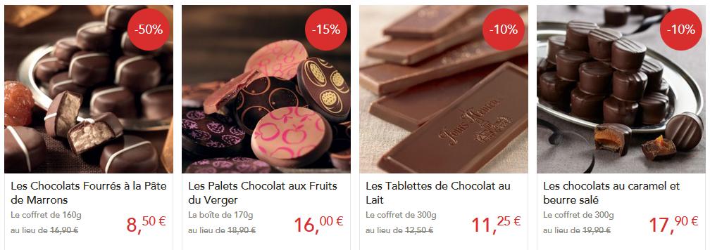 Chocolats au marrons, aux fruits, au caramel...