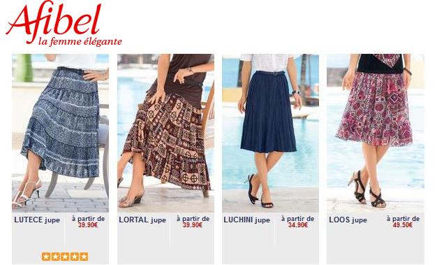 Découvrir la collection de jupes sur le catalogue Afibel.