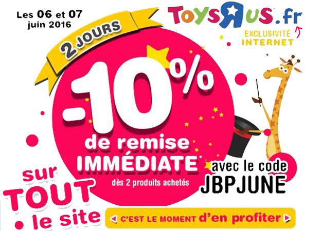 Bon plan Toys'R'us : pendant 2 jours -10% de réduction sur TOUT le site !