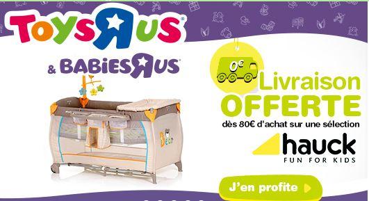 Dès 80€ d'achat, la livraison est offre chez Babies'R'Us !