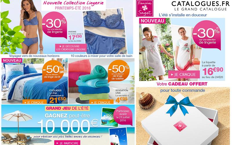 Françoise Saget : -50% sur le linge de maison, -30% sur la lingerie avec catalogues.fr !