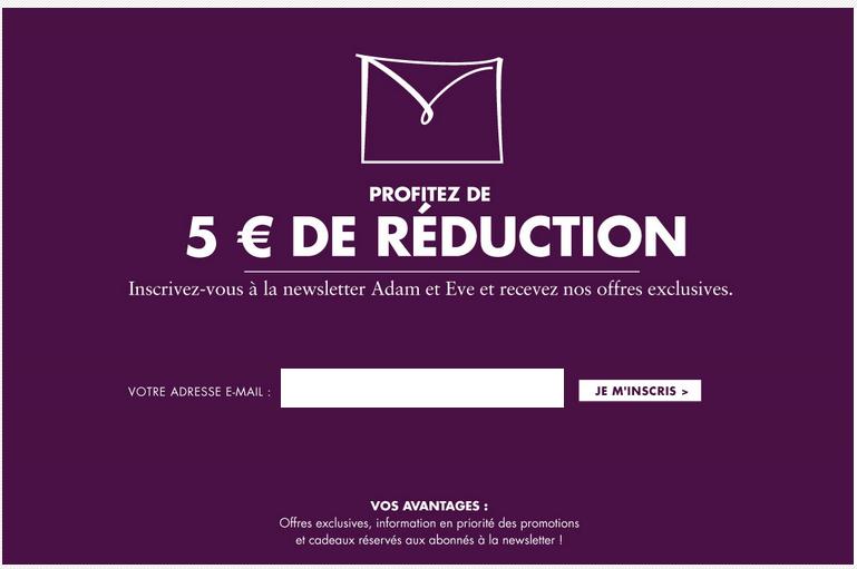 Profitez de 5€ de réduction en vous inscrivant à la newsletter