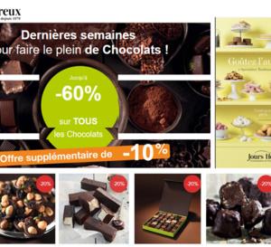Jours Heureux : Jusqu'à -70% sur TOUS LES CHOCOLATS de votre catalogue.