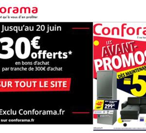 30€ offerts en bons d'achats sur tout le site CONFORAMA jusque ce soir !