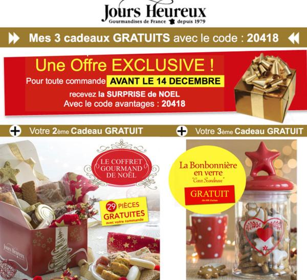 Idées gourmandes JOURS HEUREUX + 3 Cadeaux EXCEPTIONNELS Gratuits !